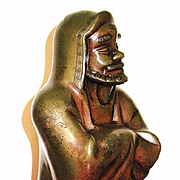19C Bronze figure of Buddhist arhat luohan rakan Chinese Japanese