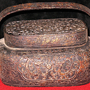 Chinese bronze cast hand wormer incense burner gold highlights sign