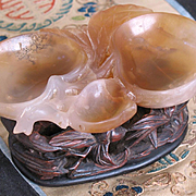 Chinese carved jade tray in shape of peach tree fitted wood base