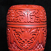 Chinese Japanese carved cinnabar lacquer Tea Caddy