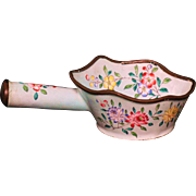 Chinese Canton enamel on copper drinking vessel  pomegranates and flowers 19th century