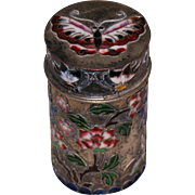 Chinese 900 silver enamel cloisonne butterflies opium pill box 19th century