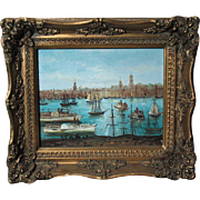 Chinese O/C painting of harbor view probably Canton