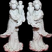 """Chinese porcelain 18/19C pair of blanc de chine Kuan-yin 11"""""""