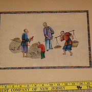 Chinese Canton painting on pith rice paper circa 1850 John Wanamaker art gallery framing circa 1865 N2