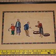 Chinese Canton painting on pith rice paper circa 1850 John Wanamaker art gallery framing circa 1865 N3