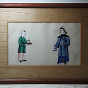 19th Chinese gouaches painting on pith rice paper of  high rank official  and attendant in Qing dynasty dresses