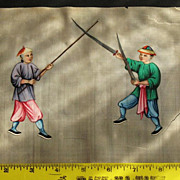 19th Chinese gouaches painting on pith rice paper of 2 warriors in Qing dynasty dresses N3