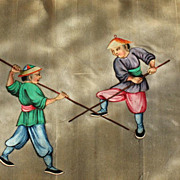 19th Chinese gouaches painting on pith rice paper of 2 warriors in Qing dynasty dresses N4