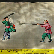 19th Chinese gouaches painting on pith rice paper of 2 warriors in Qing dynasty dresses N5
