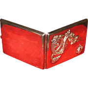Chinese 930 silver cigarette case Dragon and rolling of thunder hallmarked