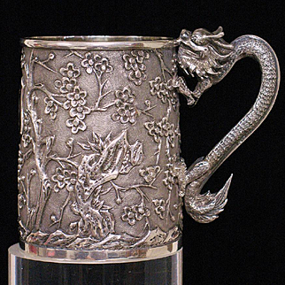 Chinese 90 silver mug with dragon handle and blossoming mume tree by WANG HING