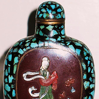 Chinese snuff bottle bronze with turquoise jade & MOP inlay Chien Lung (1736-1795)