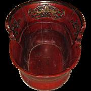 Chinese carved Jumu, Southern Elm, Zelkova wood foot-bath or baby bath 19th century