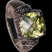 Citrine & 950 Palladium ring 3.5 carat natural Citrine gemstone in solid 950 Palladium frame ring size 10