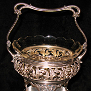 German 875 silver basket with cut crystal insert Russian & German marks