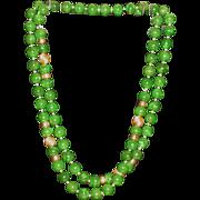 "Jade & 14K gold bead necklace  37"""