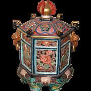 Japanese Arita Imari 18th century porcelain reticulated Koro incense burner