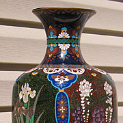 Japanese large cloisonne vase Golden Age period (1890-1910) 24 inches