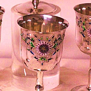 Japanese Imperial silver goblets set of 6 with multi-color enamel Kiku Mon  sign MARUYOSHI