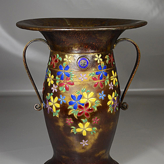 "Japanese ANDO Imperial cloisonne special order ikebana vase 17"" 1936"