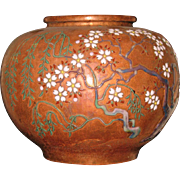 Japanese Ando enameled copper vase Taisho period (Early 20th century) signed ANDO ZO