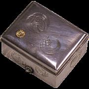 Japanese Imperial 950 silver celebratory Bonbonniere box 16-petals gold KIKU Mon Taisho period