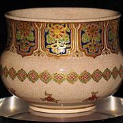 Japanese Satsuma ware incense burner gold Gozy-blue decorations sign