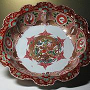 Japanese Imari Arita porcelain bowl Dragon Ho-o bird design 19thC sign