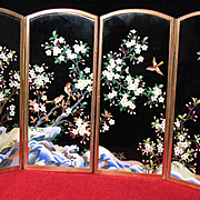 Japanese cloisonne 4-panels table screen INABA