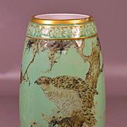 Japanese porcelain celadon vase  Hawks Tersel by KAWAMOTO MASUKICHI the 1 circa 1890