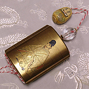 Japanese gold lacquer Inro crystal Ojime and Daruma netsuke sign