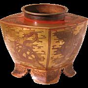 Shakudo on copper vase Japanese ikebana Meiji period