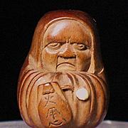 Japanese wood netsuke of Daruma 19 century