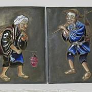 Japanese cloisonne plaques by KIKUSHIGE