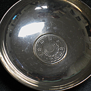 Japanese 950 silver deeping bowls with 50 sen coins 1936 KUYEDA