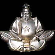 Japanese 970 silver okimono of SUGAWARA MICHIZANE Meiji/Taisho period