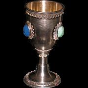 sterling silver  KIDDISH cup KIDDUSH beaker Eilat stones filigree