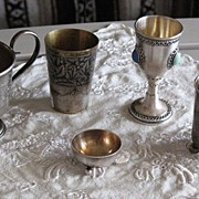 Kiddush sterling silver wine cup with precious stones inlay