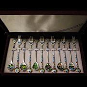 Korean Korea 99 silver desert set for 6  sign presentation box