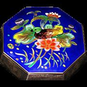 Korean 99 silver cloisonne octagonal bowl 3-D duck finial sign
