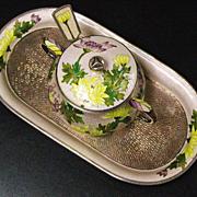 Korean 99 silver enamel cloisonne condiment set 445 grams sign