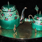 Korean sterling silver tea set with enamel cloisonne decoration 47.6 Troy ounces