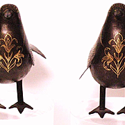 Persian Damascened pair of birds hand forged iron with gold inlay 18/19 century