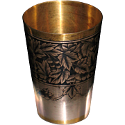 Russian 875 silver shot cup nielo gilded