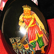Russian egg-shaped wood box done in Tempera Painting Technique.
