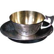 Russian 875 silver cup and saucer Tallinn Estonia 1953-1958
