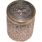 Siam Thailand 900 silver repousse spice/ tea box with Mekkalah sign circa 1900