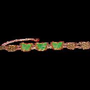 Jade sterling silver butterflies bracelet