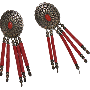 Sterling silver & Coral Concho earrings by Southwestern Native American Navajo